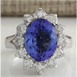 5.03 CTW Natural Tanzanite Diamond Ring 14K Solid White Gold