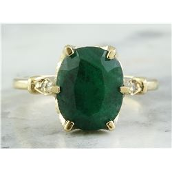 3.64 CTW Emerald 18K Yellow Gold Diamond Ring