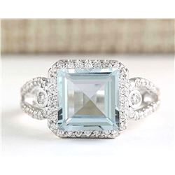 3.43 CTW Natural Aquamarine And Diamond Ring In 18K Solid White Gold