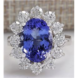 5.98 CTW Natural Blue Tanzanite And Diamond Ring 18K Solid White Gold