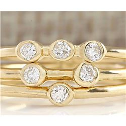 0.24 CTW Diamond Ring In 14k Solid Yellow Gold
