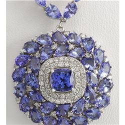 40.79 CTW Natural Tanzanite And Diamond Necklace In 14k White Gold