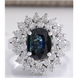 3.32 CTW Natural Blue Sapphire Diamond Ring 18K Solid White Gold
