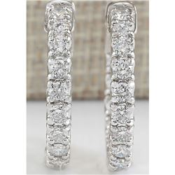2.50 CTW Natural Diamond Hoop Earrings In 18K White Gold