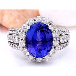 6.72 CTW Natural Tanzanite 18K Solid White Gold Diamond Ring