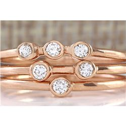 0.24 CTW Diamond Ring 18K Solid Rose Gold