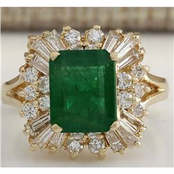 3.82 CTW Natural Emerald And Diamond Ring 14K Solid Yellow Gold