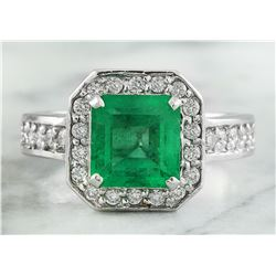 2.85 CTW Emerald 18K White Gold Diamond Ring