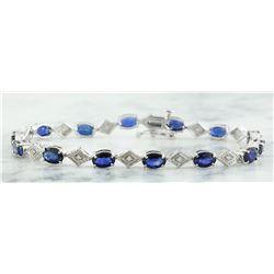 8.50 CTW Sapphire 14K White Gold Diamond Bracelet