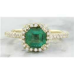 1.45 CTW Emerald 18K Yellow Gold Diamond Ring