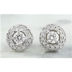 0.60 CTW 18K White Gold Diamond Earrings