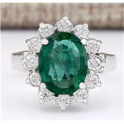 3.43 CTW Natural Emerald And Diamond Ring In 18K White Gold