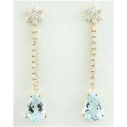 14.08 CTW Aquamarine 18K Yellow Gold Diamond Earrings