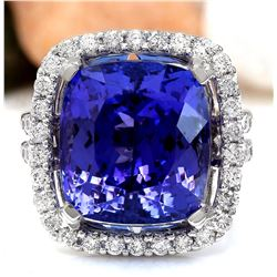 17.14 CTW Natural Tanzanite 18K Solid White Gold Diamond Ring