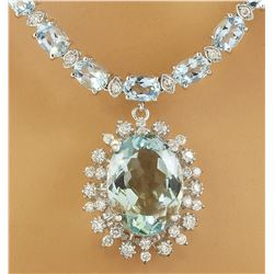 39.80 CTW Aquamarine 14K White Gold Diamond Necklace