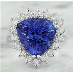 8.12 CTW Tanzanite 18K White Gold Diamond Rinf