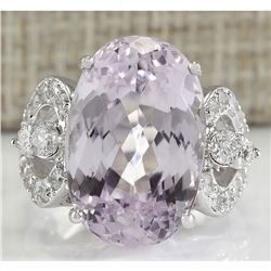 17.78 CTW Natural Pink Kunzite And Diamond Ring In 18K White Gold