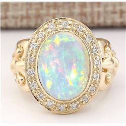 6.40 CTW Natural Opal And Diamond Ring In 14k Yellow Gold