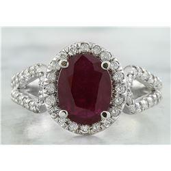2.30 CTW Ruby 18K White Gold Diamond Ring
