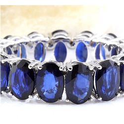 11.20 CTW Natural Sapphire 14K Solid White Gold Ring