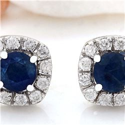 2.13 CTW Natural Ceylon Sapphire 18K Solid White Gold Diamond Stud Earrings