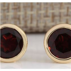 3.00 CTW Natural Red Garnet Earrings 18K Solid Yellow Gold