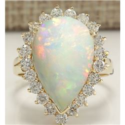 5.98 CTW Natural Opal And Diamond Ring In 18K Solid Yellow Gold
