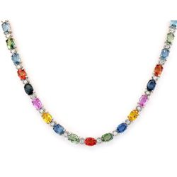 35.20 CTW Natural Ceylon Sapphire And Diamond Necklace In 18K White Gold