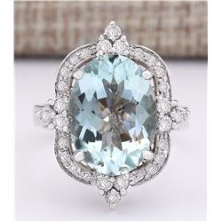 8.92 CTW Natural Aquamarine And Diamond Ring In 18K White Gold