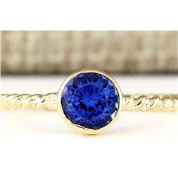 1.00 CTW Natural Tanzanite Ring In 14k Yellow Gold