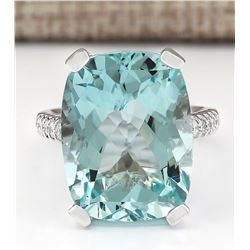 14.33 CTW Natural Aquamarine And Diamond Ring In 18K White Gold