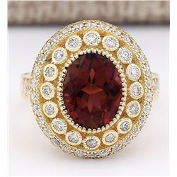 3.70 CTW Natural Pink Tourmaline And Diamond Ring 18K Solid Yellow Gold