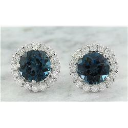 3.65 CTW Topaz 14K White Gold Diamond Earrings