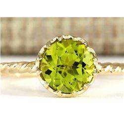 1.50 CTW Natural Peridot Ring In 14k Yellow Gold