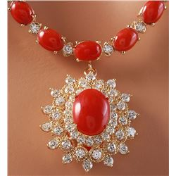 48.42 CTW Natural Red Coral And Diamond Necklace In 14K Yellow Gold