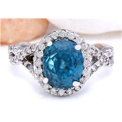 6.99 CTW Natural Zircon 14K Solid White Gold Diamond Ring