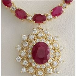 40.45 CTW Natural Ruby And Diamond Necklace In 18K Yellow Gold