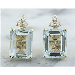 5.18 CTW Aquamarine 18K Yellow Gold Diamond Errings