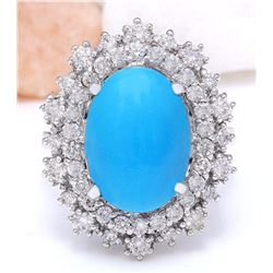 7.10 CTW Natural Turquoise 14K Solid White Gold Diamond Ring