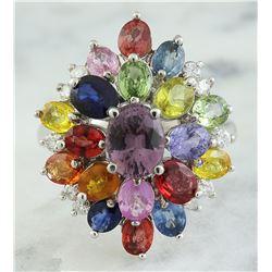 6.60 CTW Sapphire 18K White Gold Diamond Ring