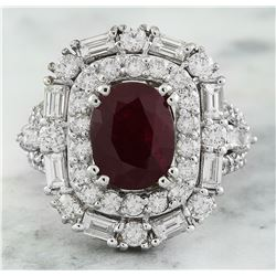 5.70 CTW Ruby 18K White Gold Diamond Ring