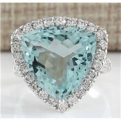 10.26 CTW Natural Aquamarine And Diamond Ring In 18K Solid White Gold