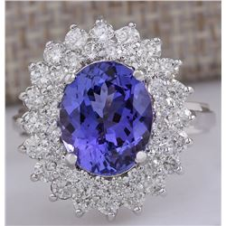 5.27 CTW Natural Blue Tanzanite And Diamond Ring 18K Solid White Gold