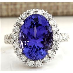 10.66 CTW Natural Blue Tanzanite And Diamond Ring In 14K White Gold