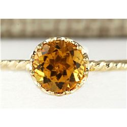 1.50 CTW Natural Madeira Citrine Ring 14k Solid Yellow Gold