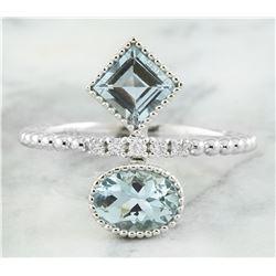 1.31 CTW Aquamarine 18K White Gold Diamond Ring
