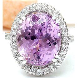 14.07 CTW Natural Kunzite 18K Solid White Gold Diamond Ring