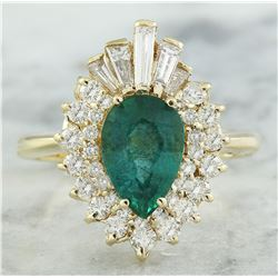2.60 CTW Emerald 14K Yellow Gold Diamond Ring