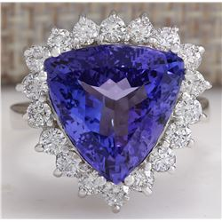 8.12 CTW Natural Blue Tanzanite And Diamond Ring In 18K White Gold