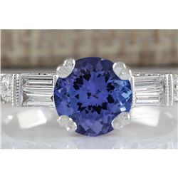 2.36 CTW Natural Blue Tanzanite And Diamond Ring 18K Solid White Gold